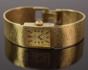 Vintage Modern Ladies Solid 14k Gold Omega Wrist Watch 17 Jewels