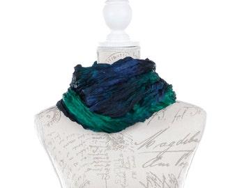 Valentine gift scarf / blue green scarf / green blue scarf / ruffled silk scarf for women / silk scarf for wife / No iron ruffled silk scarf