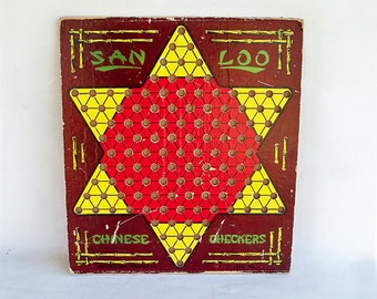 Mid Century San Loo Chinese Checker Board with a Wonderful Graphics