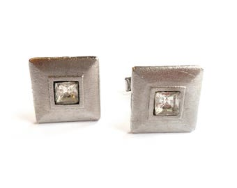 Vintage Square Rhinestone Cuff Links Silver Tone Metal Princess Cut Glass Stone Wedding Groom Husband Father Gift VTG Formal Suit and Tie