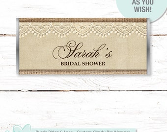 Rustic Burlap and Lace Candy Bar Wrapper Printable, Hersheys Bar Wrapper, Chocolate Bar Wrapper, Personalized Wrapper, Bridal Shower, 3R