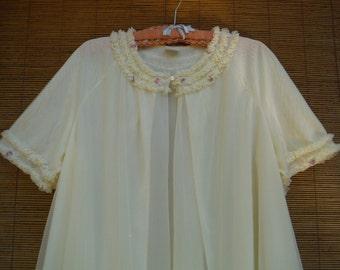 Vintage 1960's Yellow Chiffon Bed Robe - Yellow Chiffon Night Gown Cover -  Soft Yellow Nightie Cover Up - St. Michael Ruffled Robe