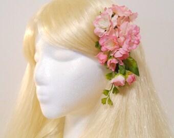 Cherry Blossom Hair Clip Spring Pink Flower Pink Cherry Blossom Moss Sakura Flowers Wedding Flower Girl Spring Bride Mothers Day Vine Kawaii
