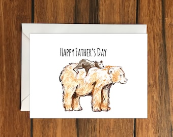 Happy Father's Day Bears Blank greeting card A6