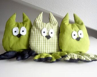 Owl stuffed plush green
