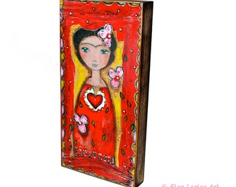 Frida and Her Sacred Heart-  Giclee print mounted on Wood (5 x 10 inches) Folk Art  by FLOR LARIOS