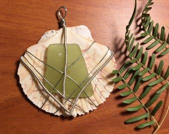 Sea glass n shell pendant
