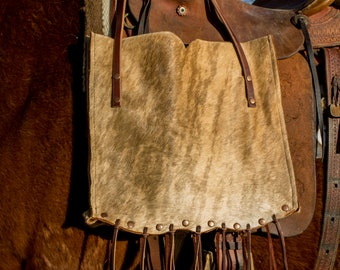 Large Leather Cowhide Fringe Tote