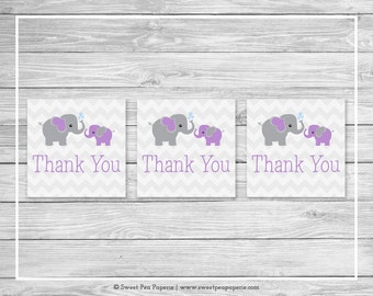 Elephant Baby Shower Favor Thank You Tags - Printable Baby Shower Thank You Tags - Purple and Gray Elephant Baby Shower - Favor Tags - SP116