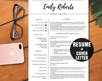 Cover Letter Modern Resume Template, CV Template, Professional Resume Template Instant Download, Creative Resume, Classy Style