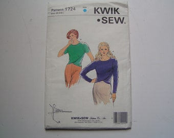 Vintage KWIK SEW Pattern 1724 Miss Pull over Close Fitting Top