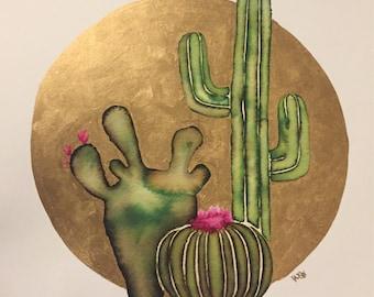 Desert Sunrise Watercolor Print - Cactus, Succulents, Hand embellished, Botanical, Arizona, California, Nevada, Texas, New Mexico, on trend