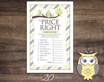 Instant Download Yellow Owl Price Is Right Baby Shower Game, Yellow Grey Owl Baby Shower Games, Gender Neutral Owl Baby Shower Game 23G