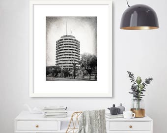 Los Angeles Photography Print, Capitol Records, Hollywood, California, LA Wall Art, Architecture, Fine Art Print, Black and White or color