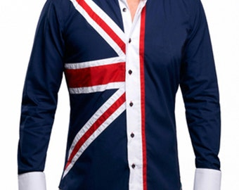 Men's Union Jack Formal Shirt Men Italian Shirt Designer Great Quality Regular Fit Navy 10148 PlwfjRT