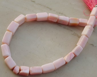 8 to 9 mm Natural Pink Peruvian Opal Smooth Rectangle cube Full 8 inch strand-AA