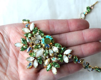 Vintage Green and White Givre Rhinestone Statement Necklace, Alice Caviness, Unsigned, Light Green, White, AB, Gold Tone, KC164