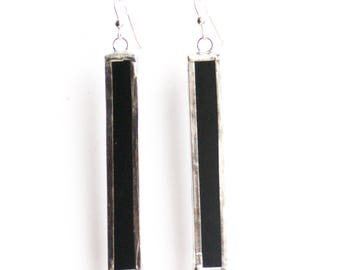 Black Rectangle Earrings,  Stained Glass Earrings, Black Earrings, Statement Earrings, Girlfriend Earring Gift, Contemporary Jewelry