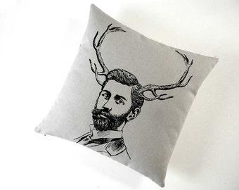 Handsome Young Bearded Deer Buck Seide geschirmt Baumwolle Canvas Throw Pillow 18 cm Quadrat