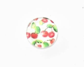 Glass cabochon 10mm illustrated cherries (green)