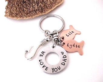 Keychain for Dad, Fish Keychain, Father's Day Gift, Dad Keychain, Papa Keychain, We Love You Dad, Daddy Gift, Gift for Dad, Gift for Daddy
