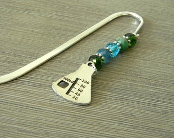 Beaker Bookmark with Blue and Green Glass Beads Shepherd Hook Steel Bookmark Silver Color Science Bookmark