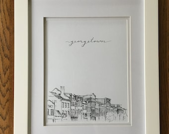 Georgetown - Print of Pen & Ink Architecture Sketch - 'Rooftops of DC' Series