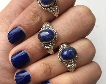 Lapis Lazuli Ring * Lapis Silver Ring * Denim Blue Ring * Blue Gemstone Ring * Silver Lapis Ring * Navy Blue Ring * Blue Boho Ring * Rings