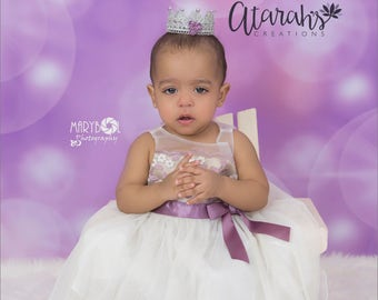 Silver  Lace crown /Silver & Purple Lace Crown /  Lace Crown Newborn / Photo Prop / Cake topper / Photography Prop / MADE IN USA.