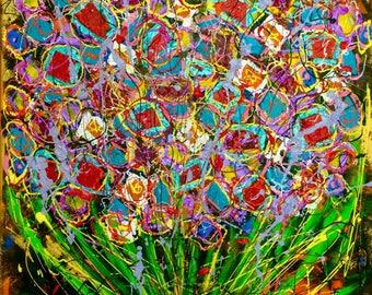 Flowers 1 sandra cremonese contemporary canvas art modern street urban abstract art acrylic oil 60 x 80 single signed