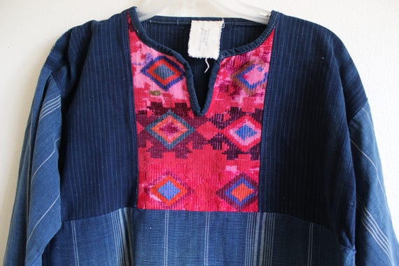 brights hippie Medium handwoven shirt pink denim traditional boho Huipil Quiche navy Guatemalan Embroidered patched fn0AgI4B