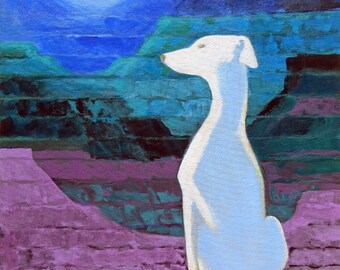 Dog Made of Moonlight - Original Acrylic Painting 18x24 on panel ready to frame
