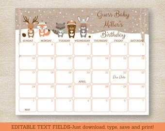Winter Woodland Animal Baby Due Date Calendar / Winter Woodland Baby Shower / Baby Shower Game / INSTANT DOWNLOAD Editable PDF A111