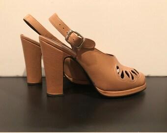 40's style spanish tan leather platform heels-6M