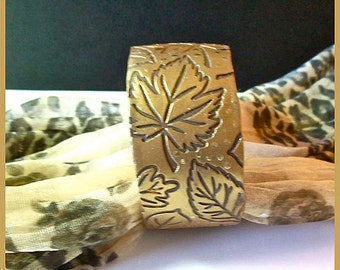 "Cuff Bracelet Polymer Clay  1 1/4""  Leaves Design Brown  with Gold Finish Magnetic Clasp"