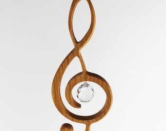 Wooden Decoration | Treble clef with Crystal