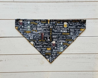 Craft Beer Dog Bandana, Over the Collar Dog Bandana,