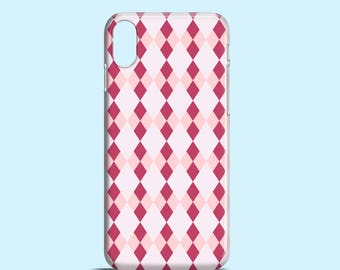 Pink Argyle iPhone case, Berry iPhone X case, iPhone 8, pink iPhone 7, iPhone 7 Plus, iPhone SE, iPhone 6S, iPhone 6, iPhone 5S, iPhone 5