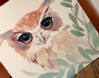 Watercolor art, original painting,owl