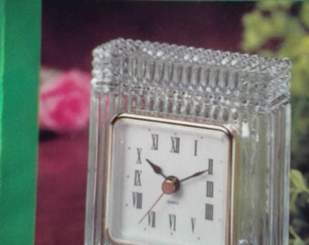 Vintage Crystal Desk Clock, Elegant Leaded Crystal, Classic Design, Quality Quartz Movement, Oval Brass Plate to Personalize, Original Box