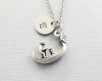 Gondola Necklace, Boat, Venice, Italy, Travel Jewelry, BFF, Friend Birthday Gift, Silver Initial, Personalized, Monogram Hand Stamped Letter