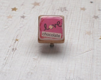 love chocolate Art Collage Scrabble Pin, Handmade Scrabble Tile Art Brooch, Wood Brooch, Lapel Pin, Scrabble Lover, Chocolate Lover Gift