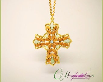 Aloisa cross pendant tutorial. How to make a cross with Kite beads. Step by step pdf beads pattern