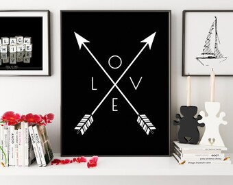 Black Wall Print, Black Arrow Art, Printable Wall Art, Black and White Wall Prints, Arrow Wall Decor, Love Wall Print, Love Art Printable