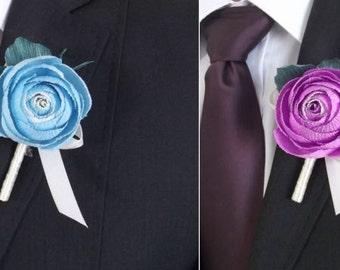 Wedding flower, buttonhole,bridal boutonniere,bridal paper flower,cream paper flower,Ranunculus paper flower , trollius paper,