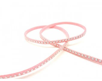 Suede pink rivets Silver 3mm, by the yard