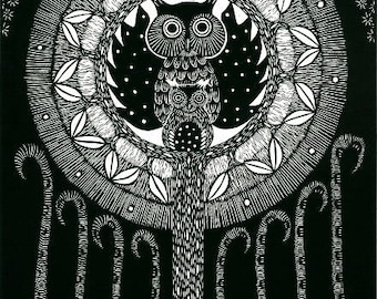 Owl relief print, wall art, black and white print, limited edition block print, linocut print