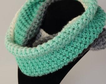 Crochet Cowl, Infinity Scarf, Crocheted Scarf, Knit Scarf, Spring Bean Cowl, Women's Scarf, Winter Scarf, Mandala Scarf, Warm Scarf,