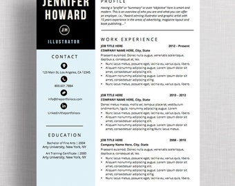 "Resume Template | CV Template + Cover Letter | Modern Resume Designs | Mac or PC | Fully Customizable (""The York"")"