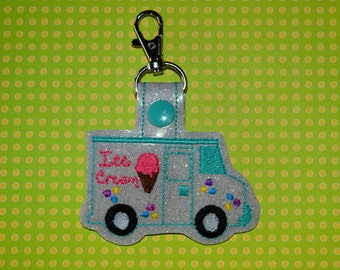 Ice Cream Truck Keychain/ Snap Tab